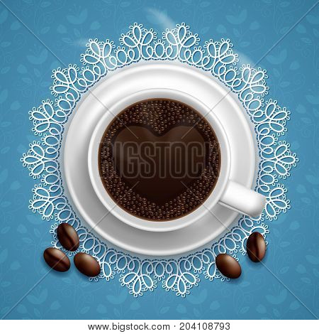 A cup of black coffee with coffee beans on lace doily. Vector Illustration