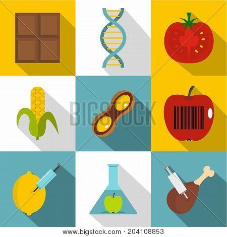 No GMO icon set. Flat style set of 9 no GMO vector icons for web design poster