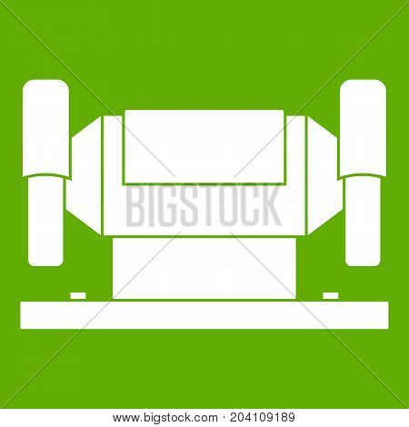 Metalworking machine icon white isolated on green background. Vector illustration