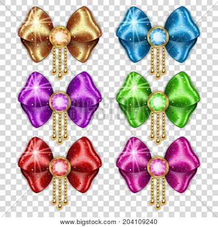 Set of colorful gift bows on transparent background. Vector illustration.