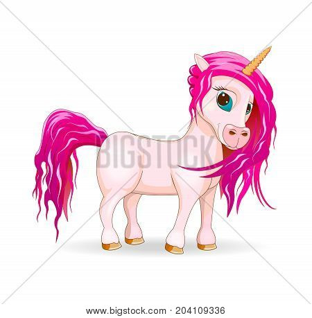 A unicorn is pink in color on a white background. A horse with a pink mane and tail.
