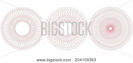 Guilloche pattern. Rosette for certificate diploma voucher ticket etc. Vector illustration. Abstract circular frame from thin lines.