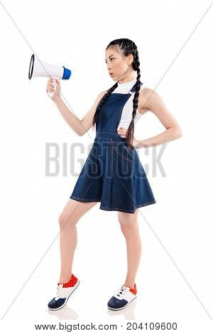Stylish Asian Woman With Loudspeaker