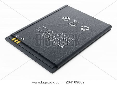 Spare smartphone lithium ion battery. 3D illustration.