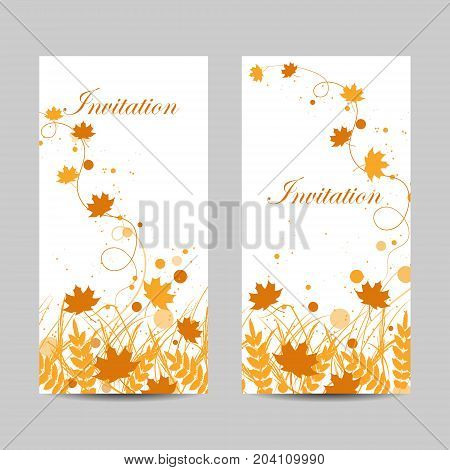 Set of vertical banners. Beautiful yellow leaves, circles and flying ribbons isolated on white background.