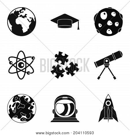 Observation of satellite icons set. Simple set of 9 observation of satellite vector icons for web isolated on white background