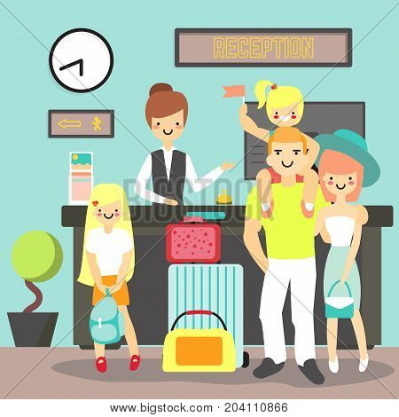 Hotel reception concept vector illustration. Hotel worker receptionist female standing at reception desk and guests happy family with two kids checking into the hotel flat style design element.