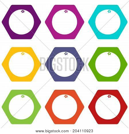 Mandarin icon set many color hexahedron isolated on white vector illustration