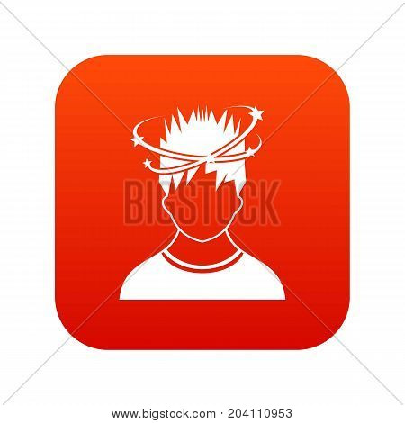 Man with dizziness icon digital red for any design isolated on white vector illustration