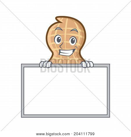 Grinning with board peanut character cartoon style vector illustration