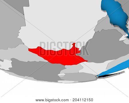South Sudan On Globe