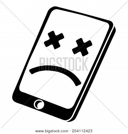 Dead smartphone icon. Simple illustration of dead smartphone vector icon for web