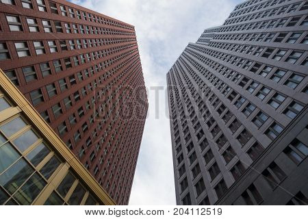 The Hague the Netherlands - 26 November 2016: tall buildings in The Hague
