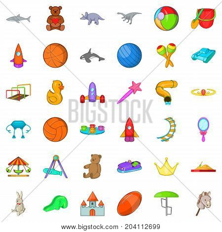 Carousel icons set. Cartoon style of 36 carousel vector icons for web isolated on white background