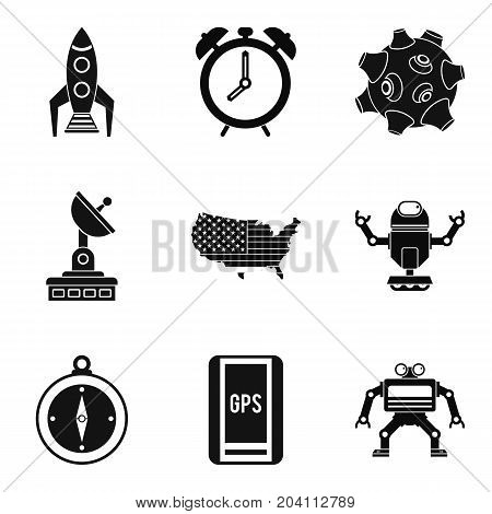 Sputnik icons set. Simple set of 9 sputnik vector icons for web isolated on white background