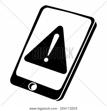Warning smartphone icon. Simple illustration of warning smartphone vector icon for web