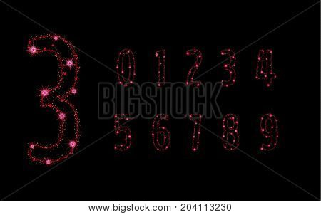 Alphabet Letters From Glittering Red Stars