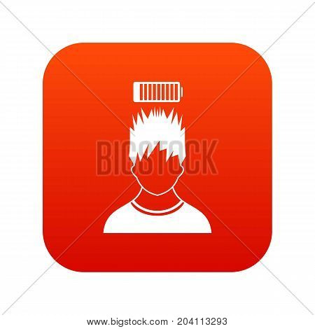 Man with low battery over head icon digital red for any design isolated on white vector illustration
