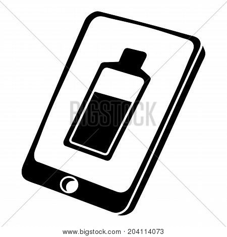 Battery charging smartphone icon. Simple illustration of battery charging smartphone vector icon for web