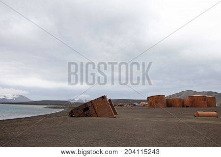 Remains of an old whaling station at Whaler's Bay, Deception Island, Antarctic Peninsula, Antarctica.