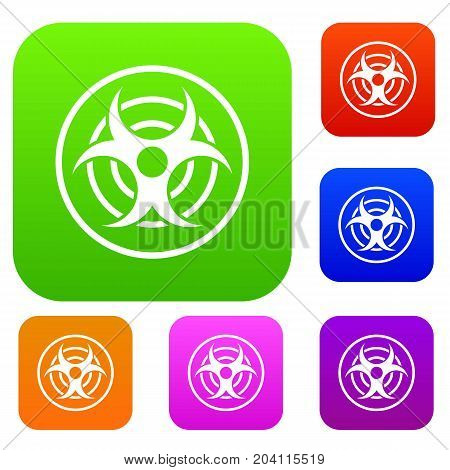 Sign of biological threat set icon color in flat style isolated on white. Collection sings vector illustration