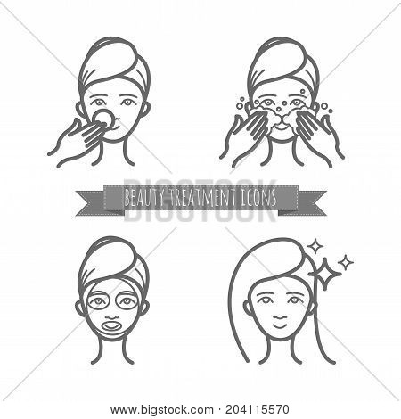 Beauty treatment icons, face care, mask for your design
