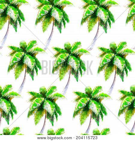 Watercolor palmtree seamless pattern bright hand-drawn summer background.