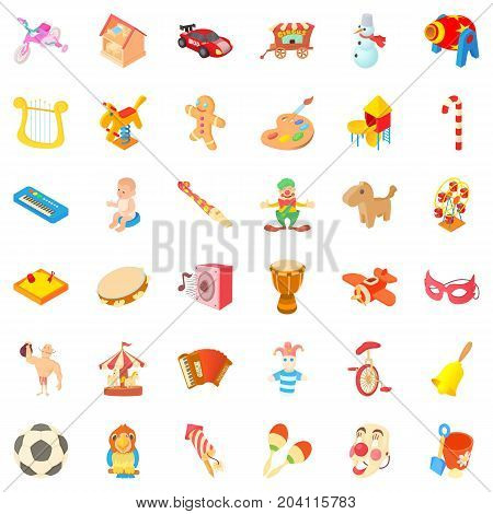 Amusement icons set. Cartoon style of 36 amusement vector icons for web isolated on white background