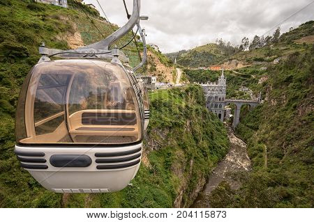 February 23 2017 Las Lajas Colombia: the cablecar ride to the famous cathedral built over a canyon is very popular with the tourists