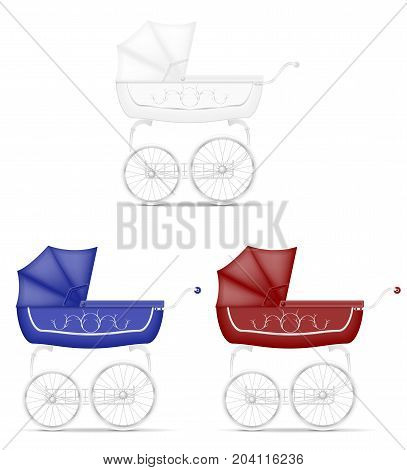 retro baby carriage stock vector illustration isolated on white background