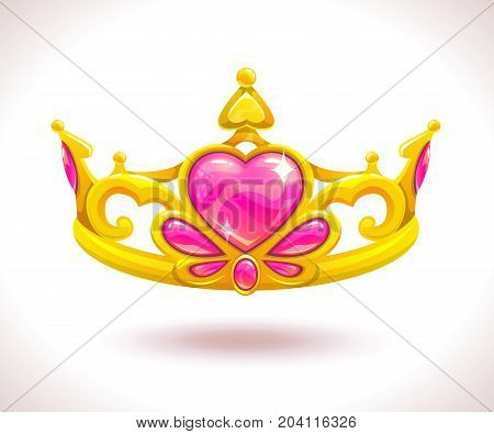 Beautiful golden princess crown with pink ruby hearts. Vector cartoon diadem icon.