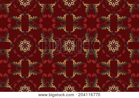 Burgundy background from vintage gold with red ethnic satin ornaments