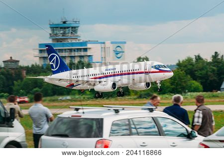 Airplane Sukhoi Superjet 100 Russia, Moscow, Airport Zhukovsky. July 19, 2017