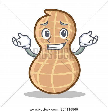 Grinning peanut character cartoon style vector illustration
