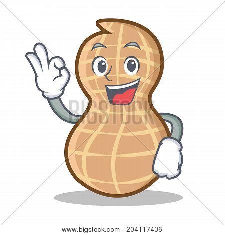 Okay peanut character cartoon style vector illustration