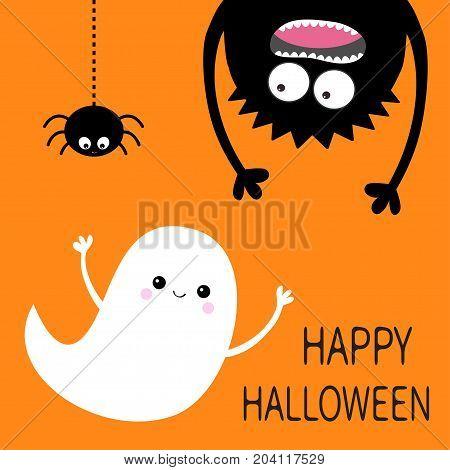Happy Halloween card. Flying ghost spirit. Monster head silhouette. Eyes hands. Hanging upside down. Black spider dash line. Funny Cute cartoon baby character. Flat design. Orange background. Vector