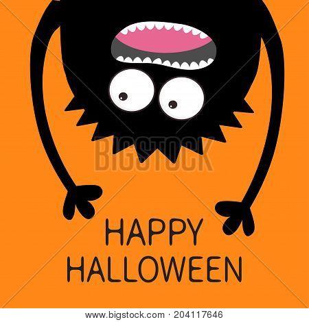 Happy Halloween card. Screaming monster head silhouette. Two eyes teeth tongue hands. Hanging upside down. Black Funny Cute cartoon baby character.Flat design. Orange background. Vector