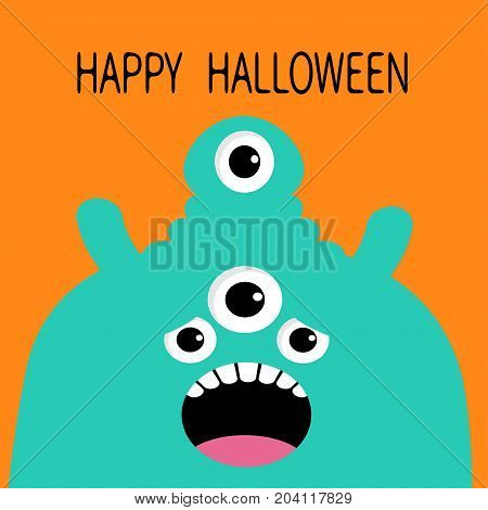 Happy Halloween card. Monster head silhouette with four eyes teeth tongue. Blue color. Funny Cute cartoon character. Baby collection. Flat design. Orange background. Vector illustration