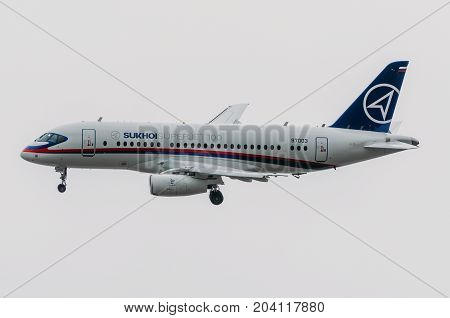 Airplane Sukhoi Superjet 100 Russia, Moscow, Airport Zhukovsky. July 22, 2017