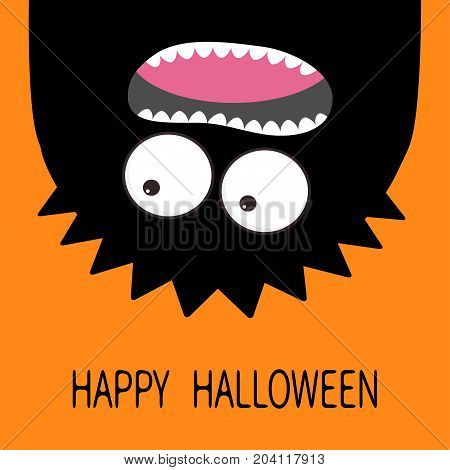 Happy Halloween card. Monster head silhouette. Two eyes teeth tongue. Hanging upside down. Black color. Funny Cute cartoon character. Baby collection Flat design. Orange background. Vector