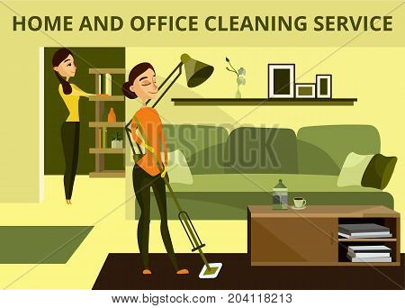 Vector home and office cleaning service banner. Cleaning company professionals charwomen cleaning office room and living room, illustration in cartoon style.