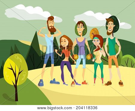 Vector illustration of sporty people males and females showing their strength and arm muscles. Group of fitness models in cartoon style. Training outside sportsmen. Healthy lifestyle concept.