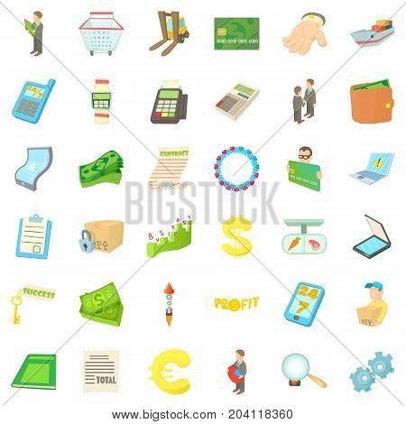 Profit icons set. Cartoon style of 36 profit vector icons for web isolated on white background