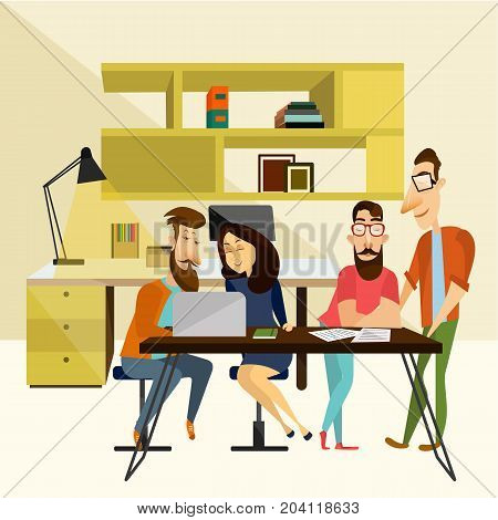 Office team concept vector illustration. Coworking team. People males and female sitting at desk and working in front of laptop, modern office interior and equipment.
