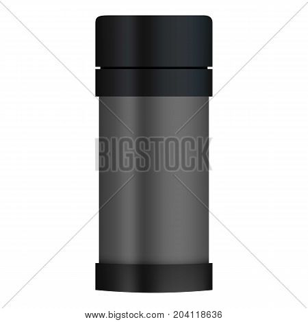 Thermos mockup. Realistic illustration of thermos vector mockup for web design isolated on white background