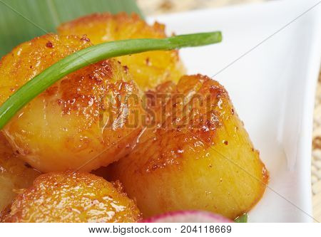 Baked scallops. traditional japanese food   close up meal  cooking