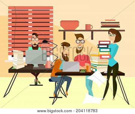 Office workers concept vector illustration. Coworking team. Men sitting at desks and using laptops, woman holding pile of folders with documents, office interior with office equipment and supplies.