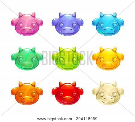 Cute jelly cow faces. Vector colorful gummy candy icons.