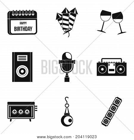 Festive song icons set. Simple set of 9 festive song vector icons for web isolated on white background