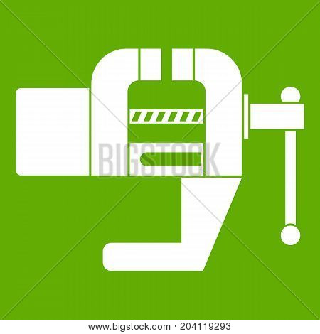 Vise tool icon white isolated on green background. Vector illustration